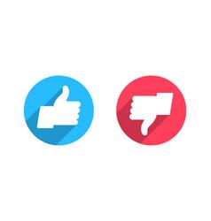 Like and dislike flat icons vector