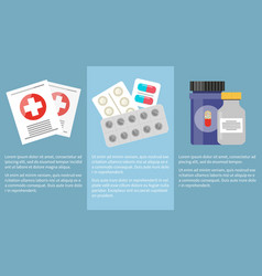 medicine icons collection with information below vector image vector image