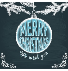 Merry Christmas chalkboard greeting card vector image vector image