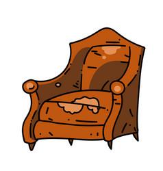 Old school chair cartoon hand drawn image vector