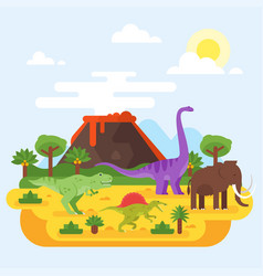 Prehistoric landscape and volcano with dinosaurs vector