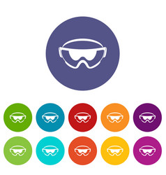 Safety glasses set icons vector