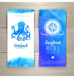 Set of blue watercolor seafood banners vector image