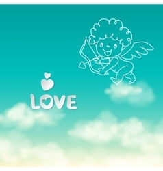 Shooting from bow Cupid and the word Love on the vector image vector image