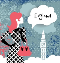 Stylish back with woman silhouette in england vector