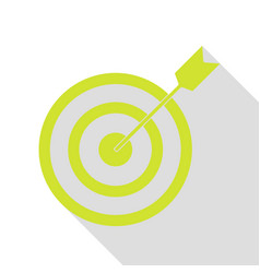 target with dart pear icon with flat style shadow vector image