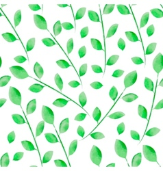Watercolor leaves seamless floral pattern vector image