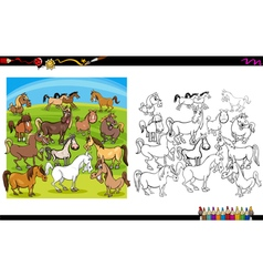 Horse characters coloring book vector