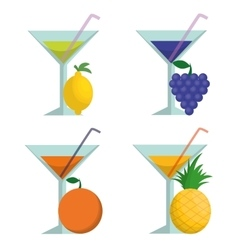 Cocktails fruits and summer concept vector