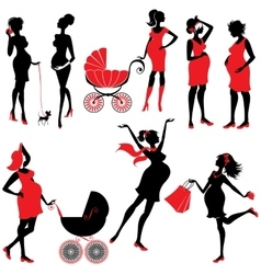 Set of pregnant woman Silhouettes in black and vector image