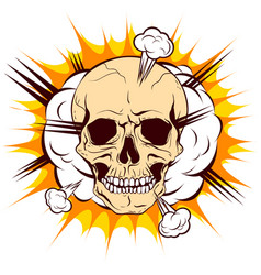Skull on background cloud explosion vector