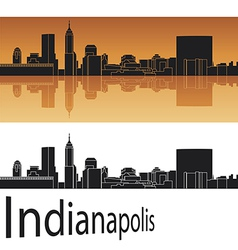 Indianapolis skyline in orange background vector