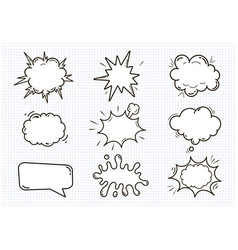 empty comic sound speech bubbles set isolated on vector image