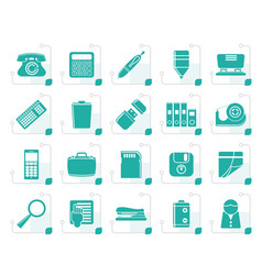 Stylized simple office tools icons vector