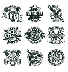 monochrome car repair service logos set vector image