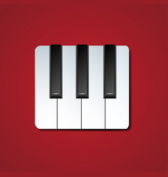 Piano keys icon with drop shadow vector
