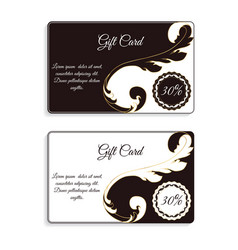 An elegant gift card with leafy elements of vector