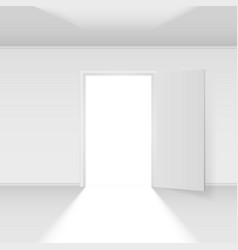Open door with light on white background vector