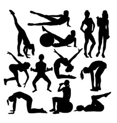 Exercises woman activity silhouettes vector