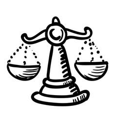 cartoon image of balance icon scales symbol vector image