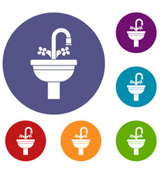 Ceramic sink icons set vector