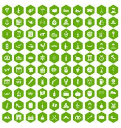 100 alcohol icons hexagon green vector