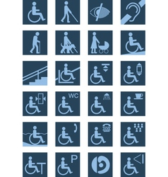 Disabled people icons vector