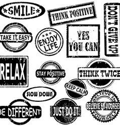 Rubber stamps with motivation and positive vector
