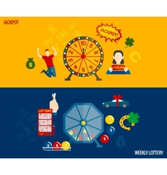 Lottery flat banners set vector