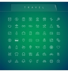 Travel and vacation thin icons set vector