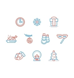 New year party blue and red line icons set vector