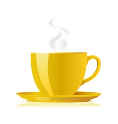 Yellow tea cup vector