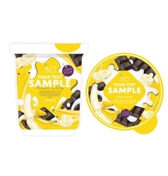 Banana chocolate yogurt packaging design template vector