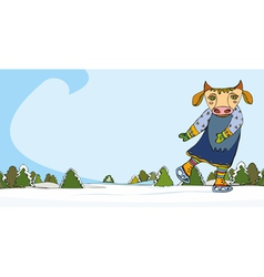 Cow Skater Winter vector image