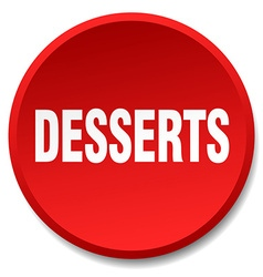 Desserts red round flat isolated push button vector