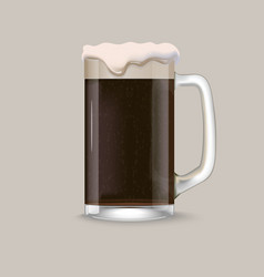 Glass of dark beer vector