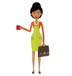African woman standing and drinking coffee vector