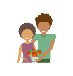 Afro couple romantic together vector