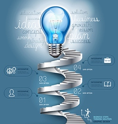 Business staircase lightbulb thinking idea vector
