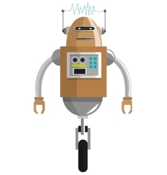 Colorful brown robot with two antennas and one vector