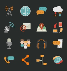 Communication icons with black background eps10 vector image