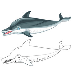 Doodle animal character for dolphin vector