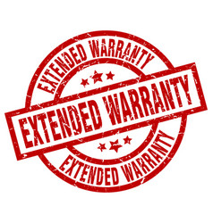 Extended warranty round red grunge stamp vector
