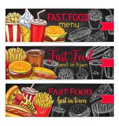 Fast food restaurant menu chalkboard banner set vector