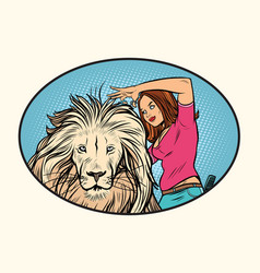 Female stylist hairdresser cuts the mane of a lion vector