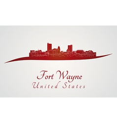 Fort wayne skyline in red vector