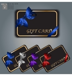 gift card with realistic ribbon vector image vector image