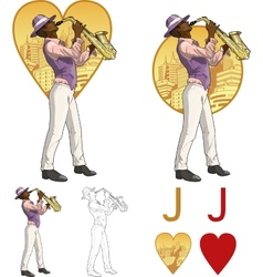 Jack of hearts afroamerican musician mafia card vector