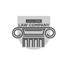 law company since 1996 logotype with ancient vector image