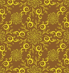 Line flower pattern yellow vector
